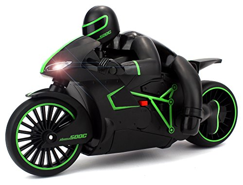 Velocity Toys Speed Lightning Remote Control RC Motorcycle Car 2.4 GHz Control System Rechargeable RTR w/ Bright LED Headlights (Colors May - Velocity Motorcycle