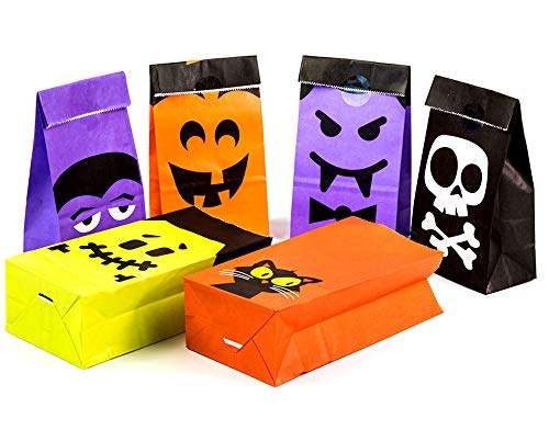 Halloween Paper Candy Bags (UNIQOOO 72Pcs Halloween Trick or Treat Bags Bulk,7x3½ x2 Inch,Food Safe Grade Paper Pastry Candy Cookie Goodie Bags,Haunted House Party Favor Supplies Decoration for Kids, 6 Cartoon Designs)