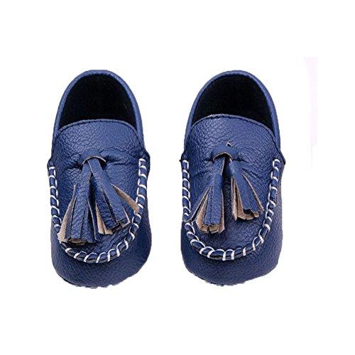 Etrack-online - Zapatos tipo mocasín de piel sintética para bebés, con borlas y suela suave blanco blanco Talla:12-18months azul