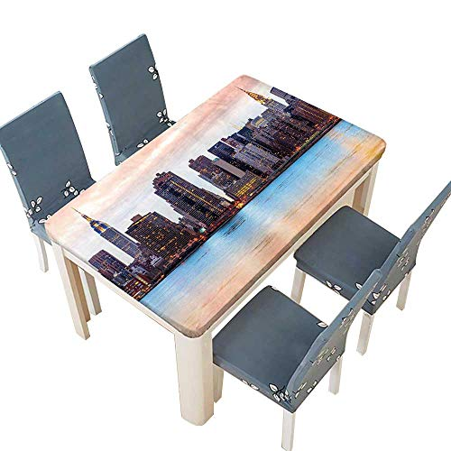 PINAFORE Polyester Fabric Tablecloth Manhattan Skyline Midtown View from The Lake USA American City Artsy Picture Peach Suitable for Home use W41 x L80.5 INCH (Elastic Edge)]()