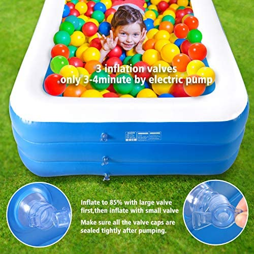Werpow Family Inflatable Swimming Pools Thickened Family Pool for Children Adults, 118 X 70 X 24 PVC Folding Durable Swim Center Family Inflatable Pool Family Kid Adult Bath Tubs