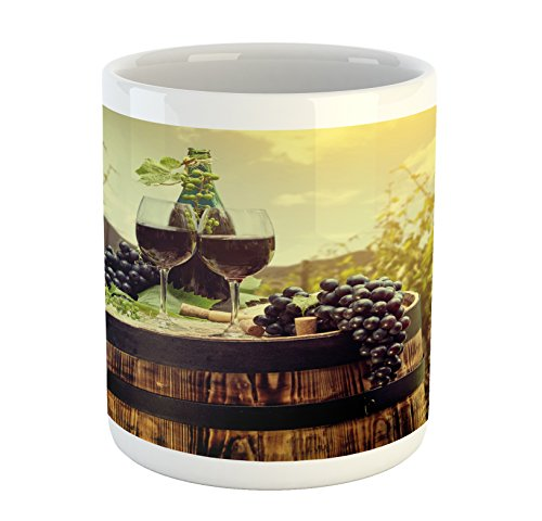 Ambesonne Wine Mug, Scenic Tuscany Landscape with Barrel Couple of Glasses and Ripe Grapes Growth, Printed Ceramic Coffee Mug Water Tea Drinks Cup, Green Black Brown ()
