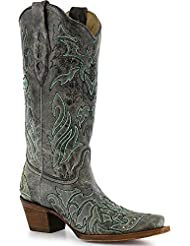 CORRAL Womens Cross and Crystals Western Boot Snip Toe - A2810