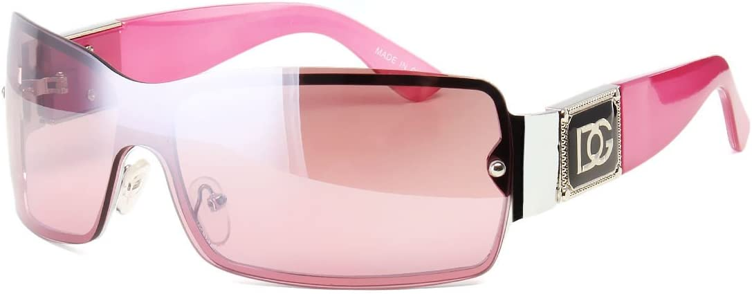New DG Eyewear Womens Pink Pilot Sunglasses Fashion Designer Retro Wrap Around
