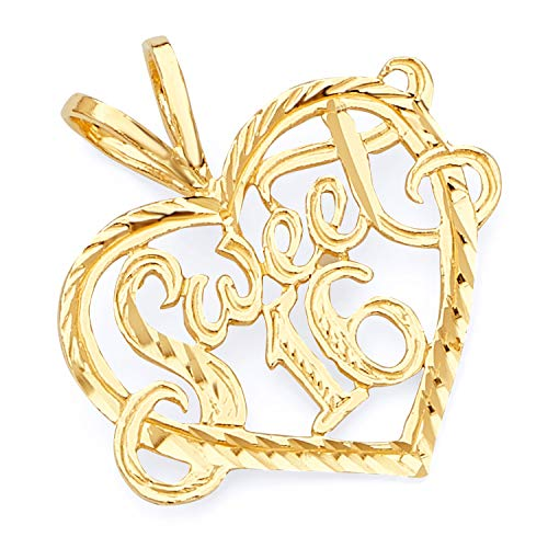 Wellingsale 14K Yellow Gold Polished Diamond Cut Ornate Heart Shaped Sweet 16 Charm Pendant ()