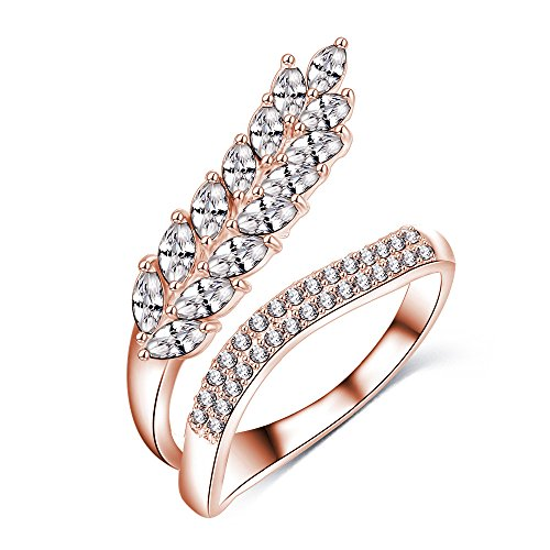 New Exquisite Fashion Jewelry Hot Sale Rose Gold Wheat Unique Open Austrian Crystal Diamond Ring (Gold Wheat Ring)