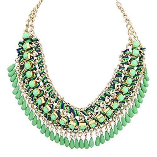 Culater® 1PC Femmes Doux Bohemian Bib Perles Vintage Collier Chaîne de Déclaration Vert