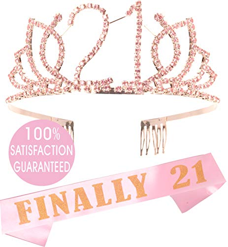 21st Birthday Tiara and Sash Pink| Happy 21st Birthday Party Supplies| Finally 21 Glitter Satin Sash and Crystal Pink Tiara Birthday Crown for 21st Birthday Party Supplies and Decorations]()