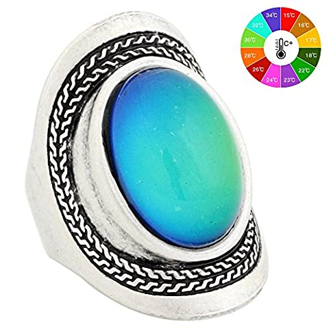 Mojo Handmade Unique Pattern Antique Sterling Silver Plating Oval Stone Color Change Mood Ring MJ-RS020 (Mood Rings Size)