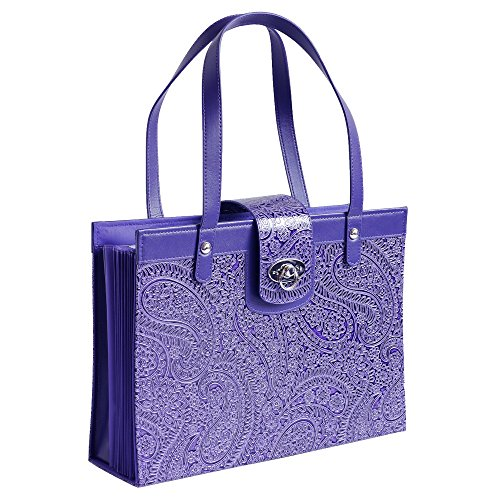 (Fashion Embossed Paisley Flower File Organizer Tote with Classy Purple Faux Leather)