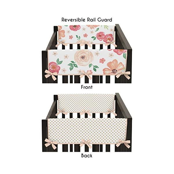 Sweet Jojo Designs Peach, Green and Gold Side Crib Rail Guards Baby Teething Cover Protector Wrap for Watercolor Floral Collection – Set of 2 – Pink Rose Flower Polka Dot