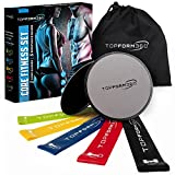 Core Sliders and Resistance Bands – 2 Gliding Discs & 5 Resistance Loops Bundle to Strengthen your Core & Abs | Dual Sided Gliders Will Work On Carpet & Hard Floors | Portable GYM | BONUS Travel Bag