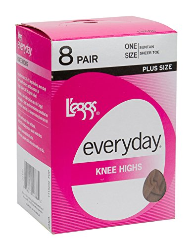 L'eggs Women's Plus-Size Everyday Knee High Sheer Toe (Pack Of 8), Off Black, One -