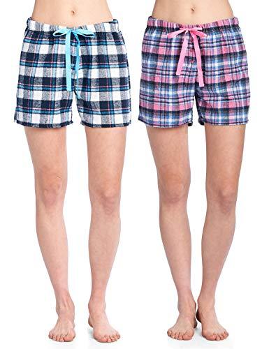 en's 2 Pack Soft Flannel Plaid Pajama Lounge Boxer Shorts - Set 4 - Medium ()