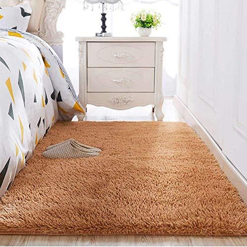 Shaggy Teppich wohnzimmer Kunstfell Fell Fellimitat Teppich Bettvorleger Sofa Matte Super weich Teppich für Wohnzimmer Schlafzimmer Kinderzimmer Auto Esszimmer Fluffy Kindermatte (120 x 160 cm, Braun)