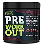 SAY GOODBYE TO YOUR LOW ENERGY WORKOUTS. Vitamin Bounty Pre-Workout Cherry is a cutting-edge supplement that will boost your energy in the gym, and increase your focus and strength throughout your workout. Whether you are weight-lifting or building y...