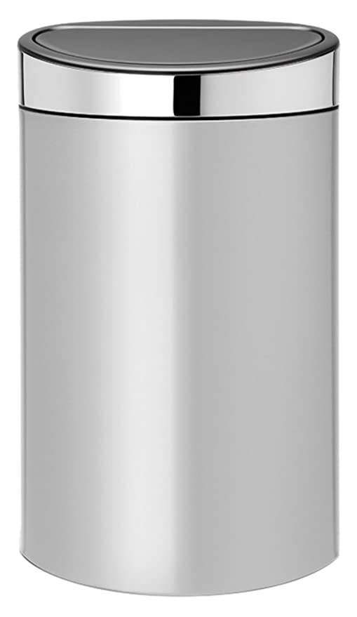 Brabantia Touch Bin Cubo de Basura, 40 litros, Tapa Acero Brillante, Gris Metalizado
