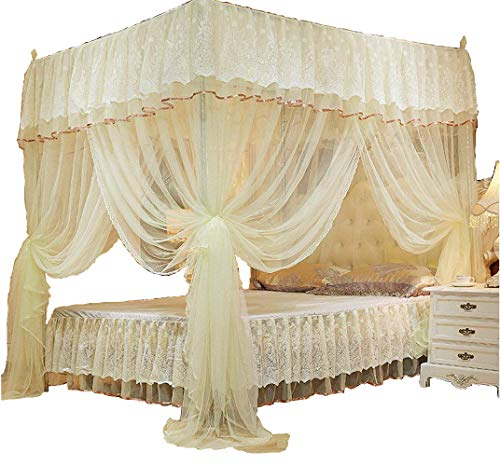 KingKara 4 Corner Poster Bed Canopy Princess Bedding Curtain Canopy Mosquito Netting Twin Full Queen Mosquito Net (Yellow, Full/Queen) ()