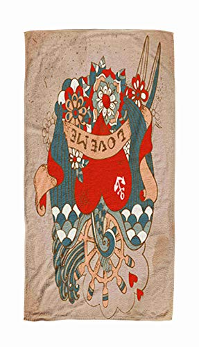 - KIOAO Beach Towels for Adults, 30x60 Oldschool Style Tattoo Card Swallow Flowers Ribbonvintage Valentine Holiday Design Beach Towels for Kids,Adults,Pool,Swim,Water Sports