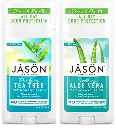Jason Tea Tree Deodorant & Aloe Vera Deodorant Bundle with Grapefruit, Citronellol, and Corn Starch, 2.5 fl. oz. each ()