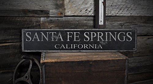 The Lizton Sign Shop Santa Fe Springs, California - Vintage City State Wood Sign, Rustic Wooden Sign - 5.5 x 24 (City Of Santa Fe Springs)