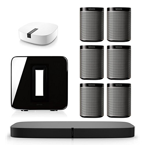 Sonos PLAYBASE Multi-Room Whole House Home Theater System with PLAY:1 Speakers, SUB Wireless Subwoofer and BOOST Wireless Adapter (Black) by Sonos