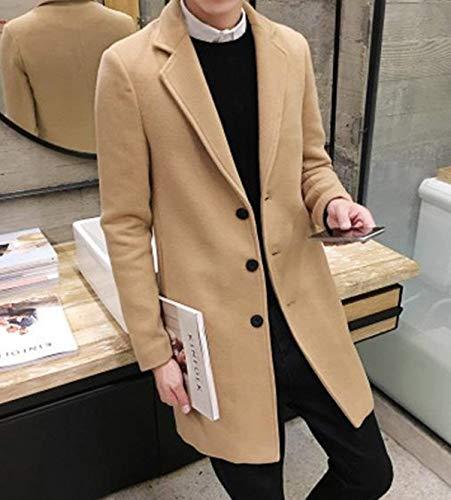 Trench Slim Long Manches Manteau De D'hiver Fit College Longues Kaki Hiver Revers Veste coat Chaud Laine Hommes À 0FS6qw