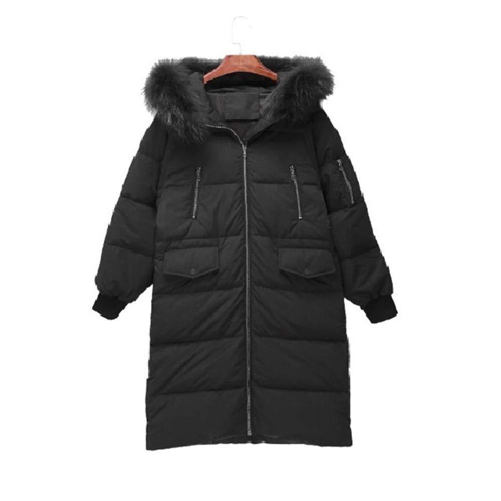 LQYRF Winter Damen High-End Lange Kapuzen Kragen Hochwertige Warm-Down-Jacke