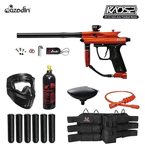 MAddog Azodin KAOS 2 Titanium Paintball Gun Package - Orange/Black (Best Speedball Gun For Beginners)