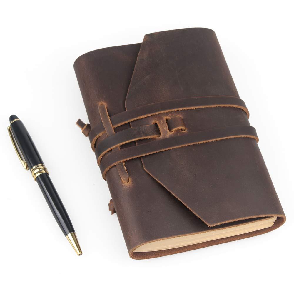 papier non lign/é 17,8 x 12,7 cm id/éal pour les hommes et les femmes WOOWA Carnet de notes en cuir vintage fait /à la main avec stylo