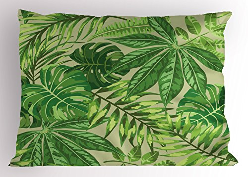 Ambesonne Green Leaf Pillow Sham, Exotic Pattern with Tropical Leaves Fresh Jungle Aloha Hawaii, Decorative Standard Size Printed Pillowcase, 26 X 20 Inches, Fern Green Apple Green Beige by Ambesonne