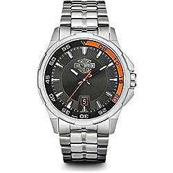 Harley-Davidson Men's Bulova Watch, Silver Bar & Shield, Stainless Steel 76B170