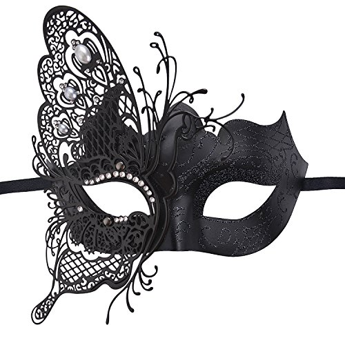 [Masquerade Mask,Coxeer Butterfly Laser Cut Metal Mardi Gras Mask Party Mask for Women] (Masquerade Masks Metal)