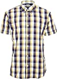 Relco Men's Tartan Check Short Sleeved Shirt Mod Skin Retro Indie XL Navy