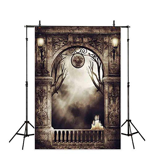Allenjoy 5x7ft Polyester Halloween Photography Backdrop Full Moon Branch Smoke Cloud Cloth Computer-Printed Horror Night Pictoria Background (Washable)]()