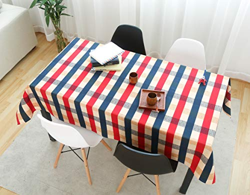 - Lamberia Cotton Linen Tablecloths for Rectangle Tables Heavyweight Burlap Table Cover for Kitchen Dinning Tabletop Decoration (Edinburgh Plaid, 55