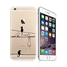 iPhone 8/7 Compatible, Colorful Flexible Translucent Fit Slim Silicone Phone Case Back Apple iPhone Cover Case - Black White Cats on Cable