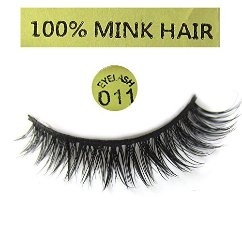MY-011 1 Pair luxurious 100% Mink Hair Short Cross Winged False eyelashes beauty eye lashes - My 011 Black