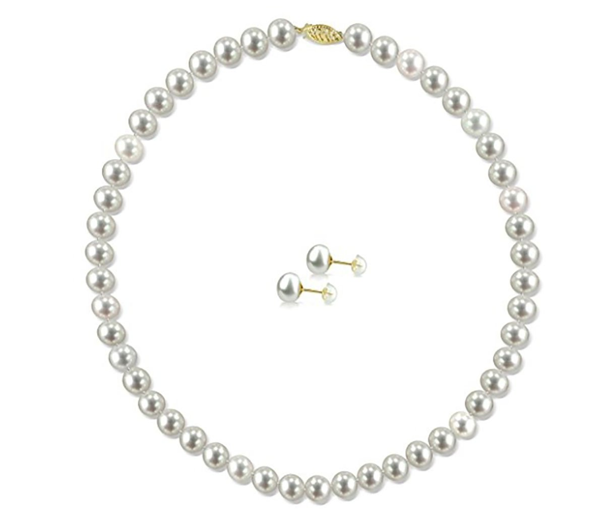 14k Yellow Gold 8-8.5mm White Freshwater Cultured Pearl Necklace 18'' and Stud Earrings Set