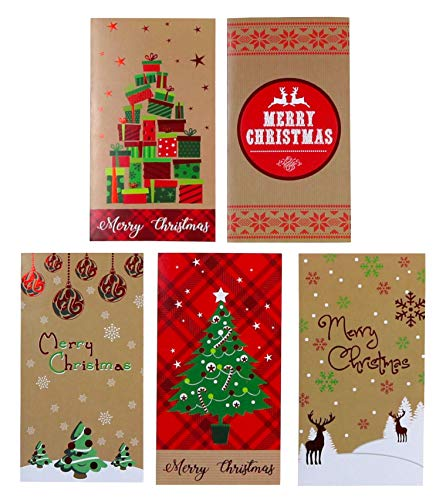 Happy Holidays Christmas Card - Kraft Christmas Money Wallet/Gift Card Holder with Envelopes 30-Count Set