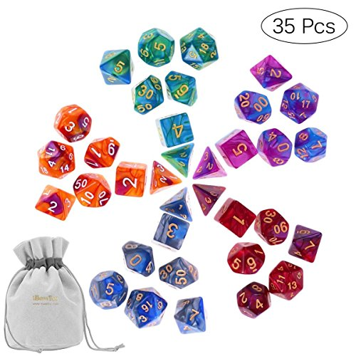 iBaseToy Double-Colors Polyhedral Dice, D&D Dice Set with Carry Pouch, 5 x 7--Dice Set for Dungeons and Dragons DND RPG MTG D20 D12 D10 D8 D4 D%Table Games Nice Toy Gifts by iBaseToy