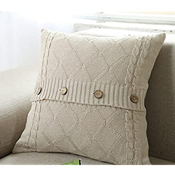 Amazon Homeorganizer Tech Cotton Removable Knitted Decorative New Decorative Pillows With Buttons