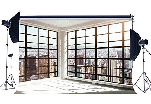 Gladbuy Vinyl 7X5FT Office Room Backdrop Fancy French Window New York City Skyscraper Photography Background for Kids Adults Portraits Photo Studio Props KX233]()