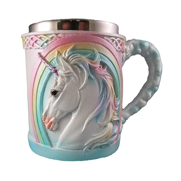 Rainbow Unicorn Coffee Mug, Cute Mythical Tea Cup, Magical Stainless Steel Fantasy Drinking Glass, Medieval Celtic Knot… 3