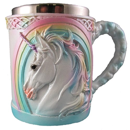 Rainbow Unicorn Coffee Mug, Cute Mythical Tea Cup, Magical Stainless Steel Fantasy Drinking Glass, Medieval Celtic Knot Design (Tea Magical)