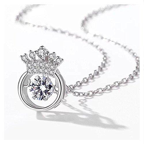 Whiteswallow 925 Silver Necklace Crown Pendant Zircon Fashion Jewelry for (Crown Trifari Clip)