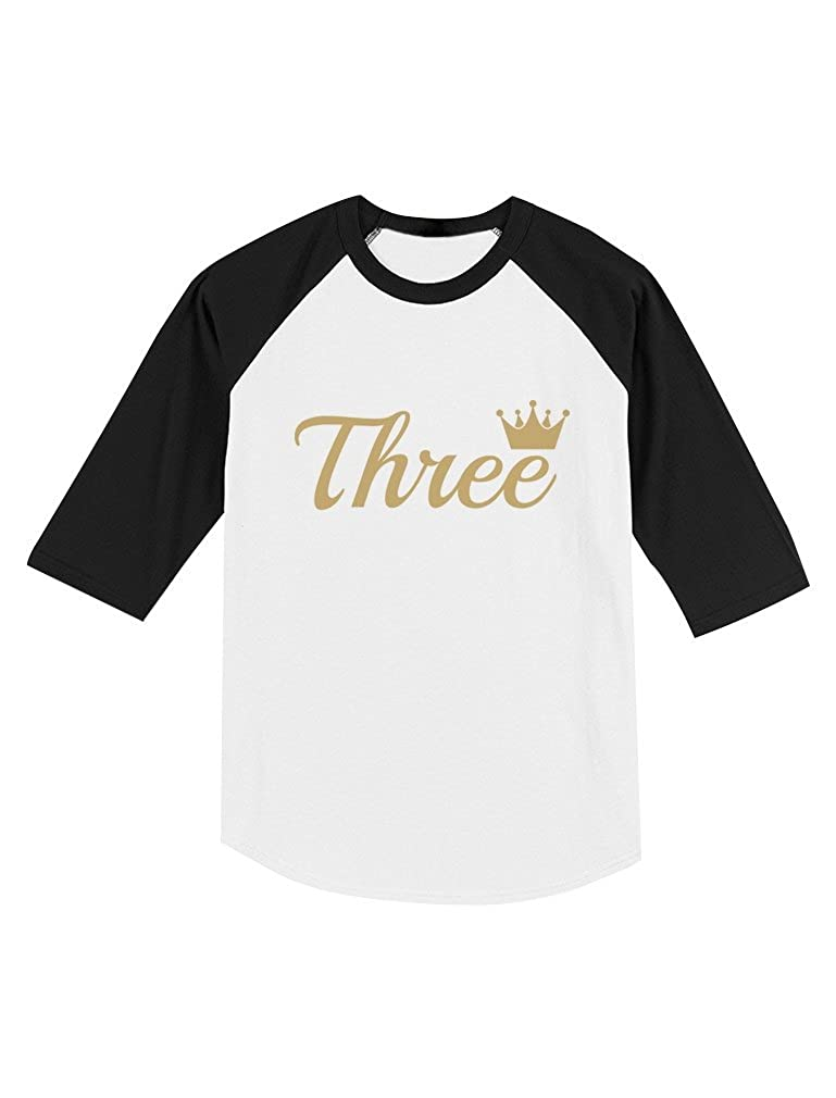 Third Birthday Gift 3 Year Old Crown Toddler Raglan 3//4 Sleeve Baseball Tee