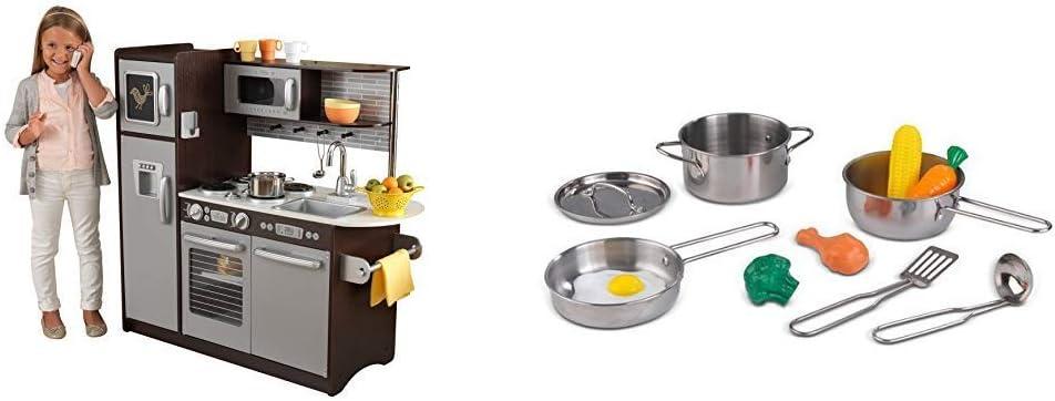 KidKraft Uptown Espresso Kitchen & Metal Accessories Set