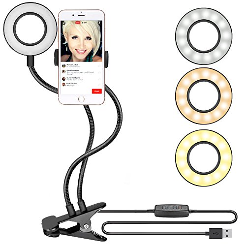 Neewer Clamp-on Selfie Ring Light with Cell Phone Holder for Live Stream, YouTube Video, Dimmable (3-Light Mode,8-Level Brightness) with Lazy Bracket for iPhone 8/7/6S, Samsung, HTC (Black)