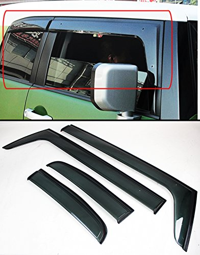 Cuztom Tuning FOR 2007-14 TOYOTA FJ CRUISER PREMIUM CLIP-ON OFFROAD SMOKE TINTED RAIN GUARD WINDOW VISOR